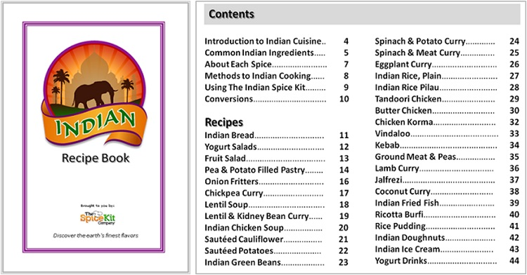 Indian Spice Kit Recipe Book