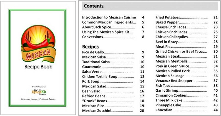 Mexican Spice Kit Recipe Book